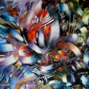 Azahares que Estallan (Blossoms that Explode) 100 x 76cm Mix Media (Plaster / Acrylic on Canvas)