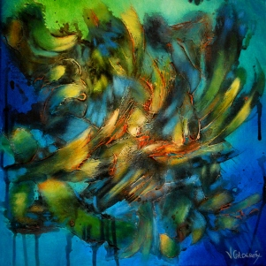 Desafío del Tiempo (Challenge of Time) 50x50 Mix Media (Plaster / Acrylic on Canvas)