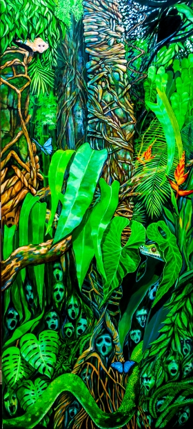 "Voices in the Jungle (Oil on canvas, 60"" x 45"")"