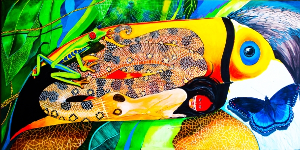 "The Anaconda and the Toucan (Acrylic on Canvas, 60"" x 48"")"